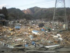 津波で破壊された大槌町