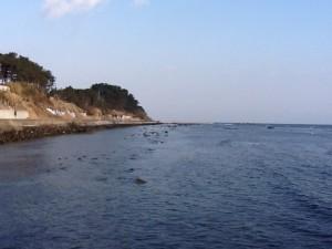 なだらかな海岸線です