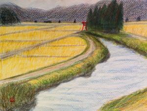「赤鳥居と土手と川」